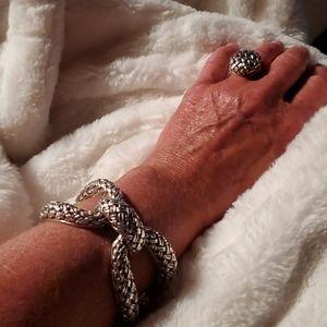 Slane and slane Sterling silver basket weave ring